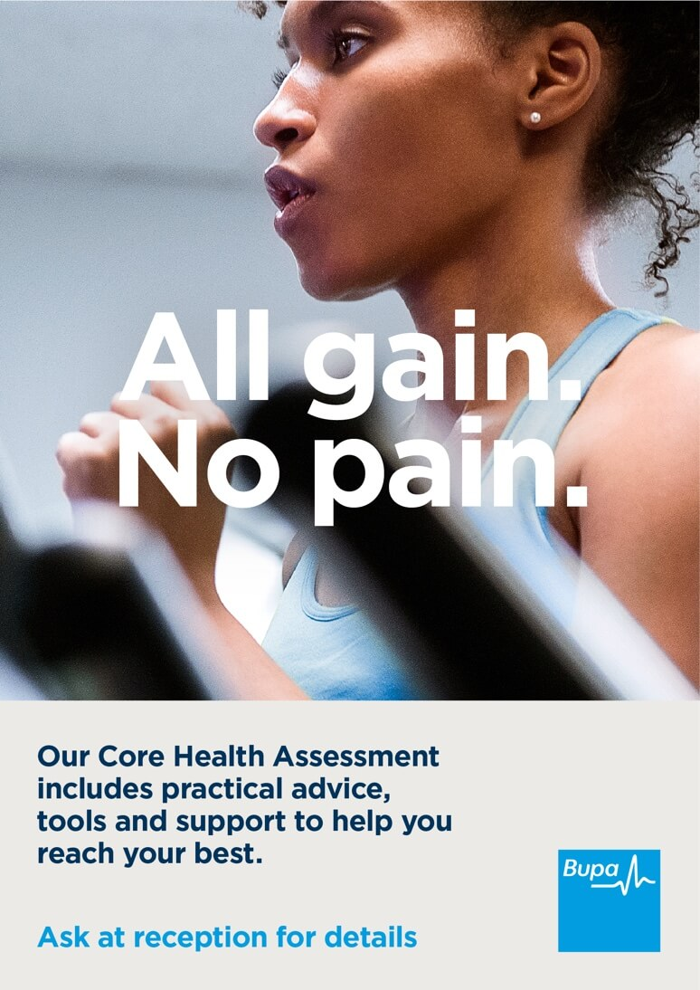 "A poster for Bupa Core Health Assessment, with a close up of a woman running on a treadmill and the text 'All gain. No pain."" over the top"