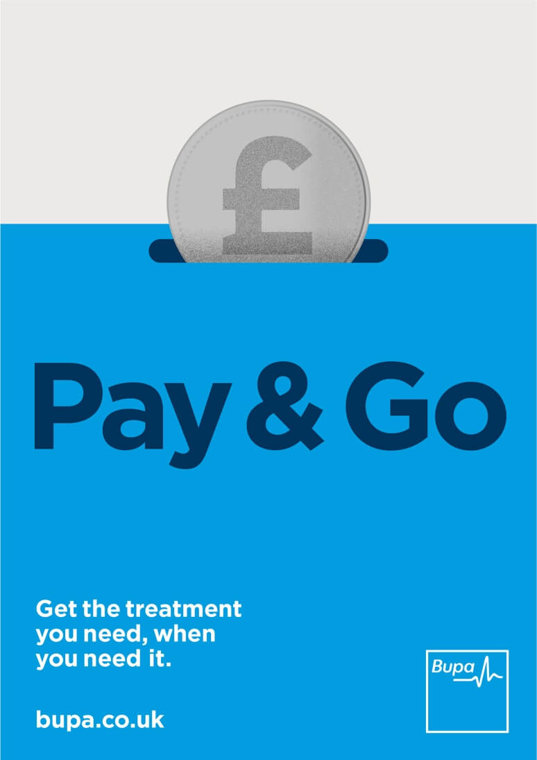 An illustrated poster of a coin going into a blue money box for Bupa Pay & Go