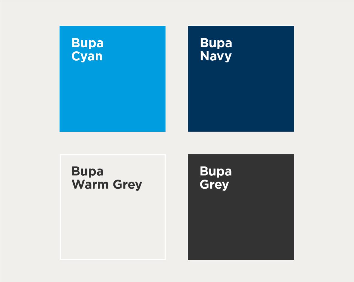 Swatches of the four primary colours of Bupa – Bupa Cyan, Bupa Navy, Bupa Warm Grey and Bupa Grey