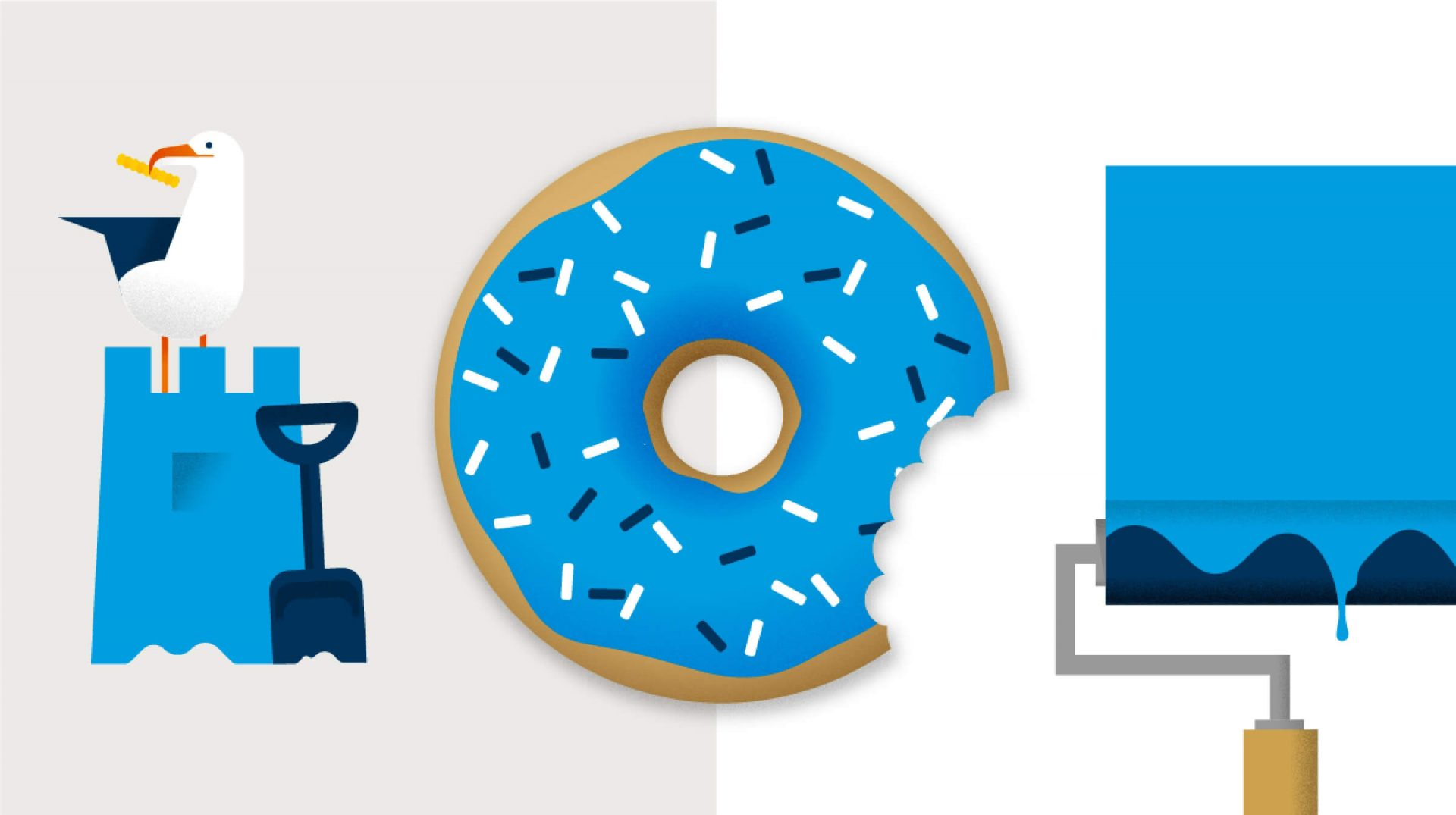 The illustrations using the Bupa Cyan – a seagull on a sandcastle, a donut with a bite taken out and a paint roller below a blue square of paint