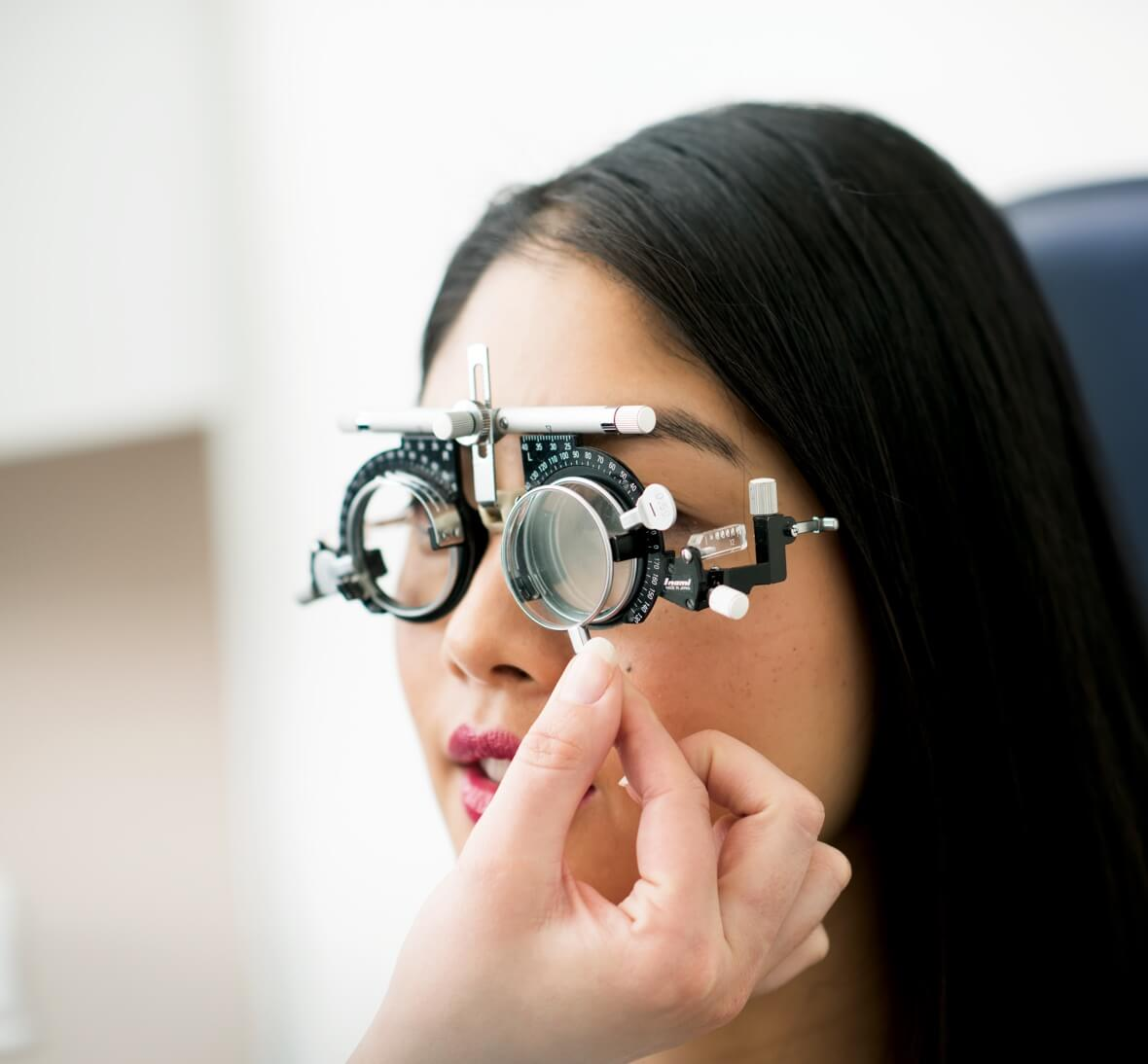 A woman having an eye test