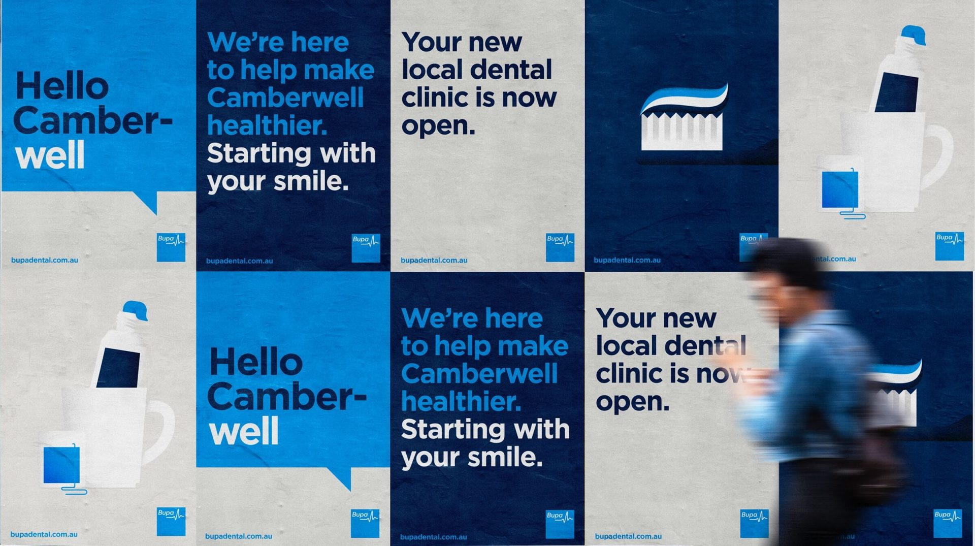 Wall of posters for Bupa Dental Camberwell