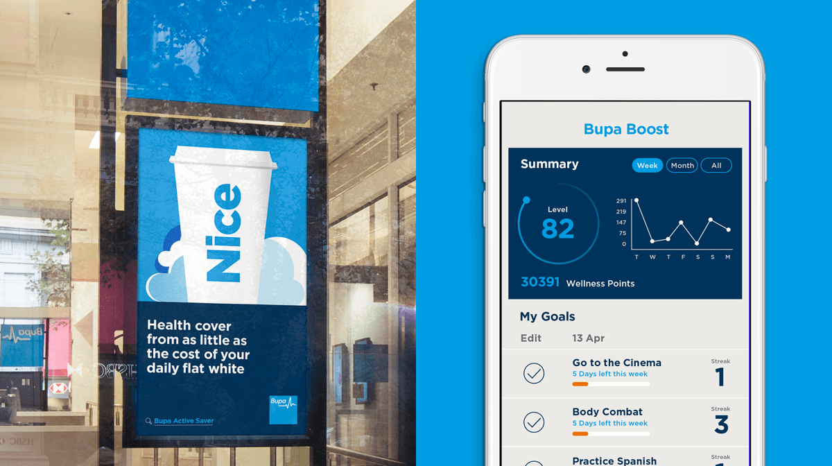 A digital ad with an illustration of a coffee cup in a Bupa store and a screenshot of the Bupa Boost app on an iPhone
