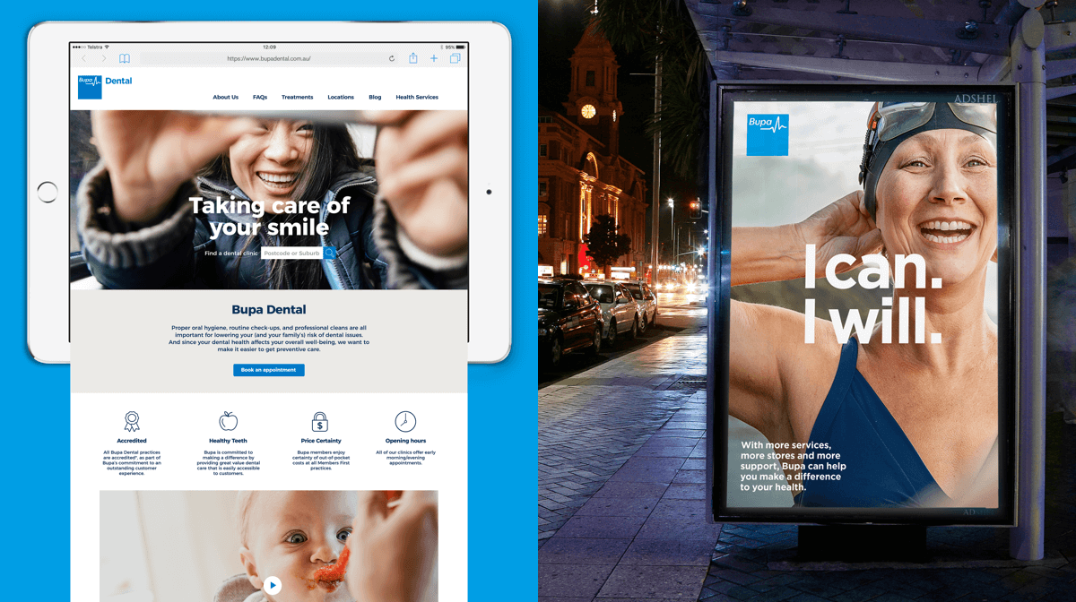 The Bupa Dental website displayed on a landscape iPad and a bus shelter with a ad saying 'I Can. I Will.' over the image of an older woman putting on a swimming cap and goggles.