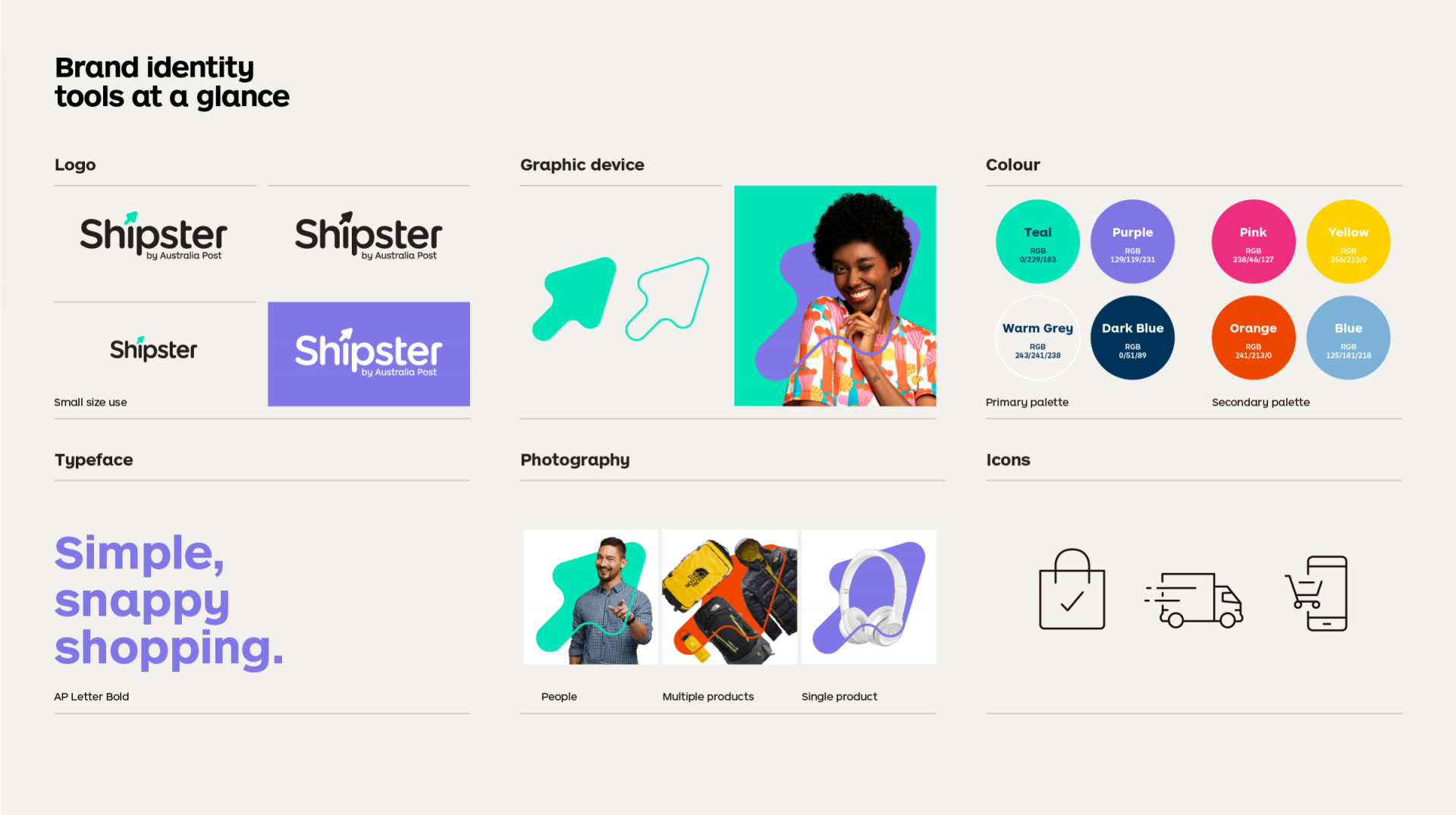 The brand toolkit for Shipster showing the brand's logo, graphic arrow device, it's colours, font, photography and icons