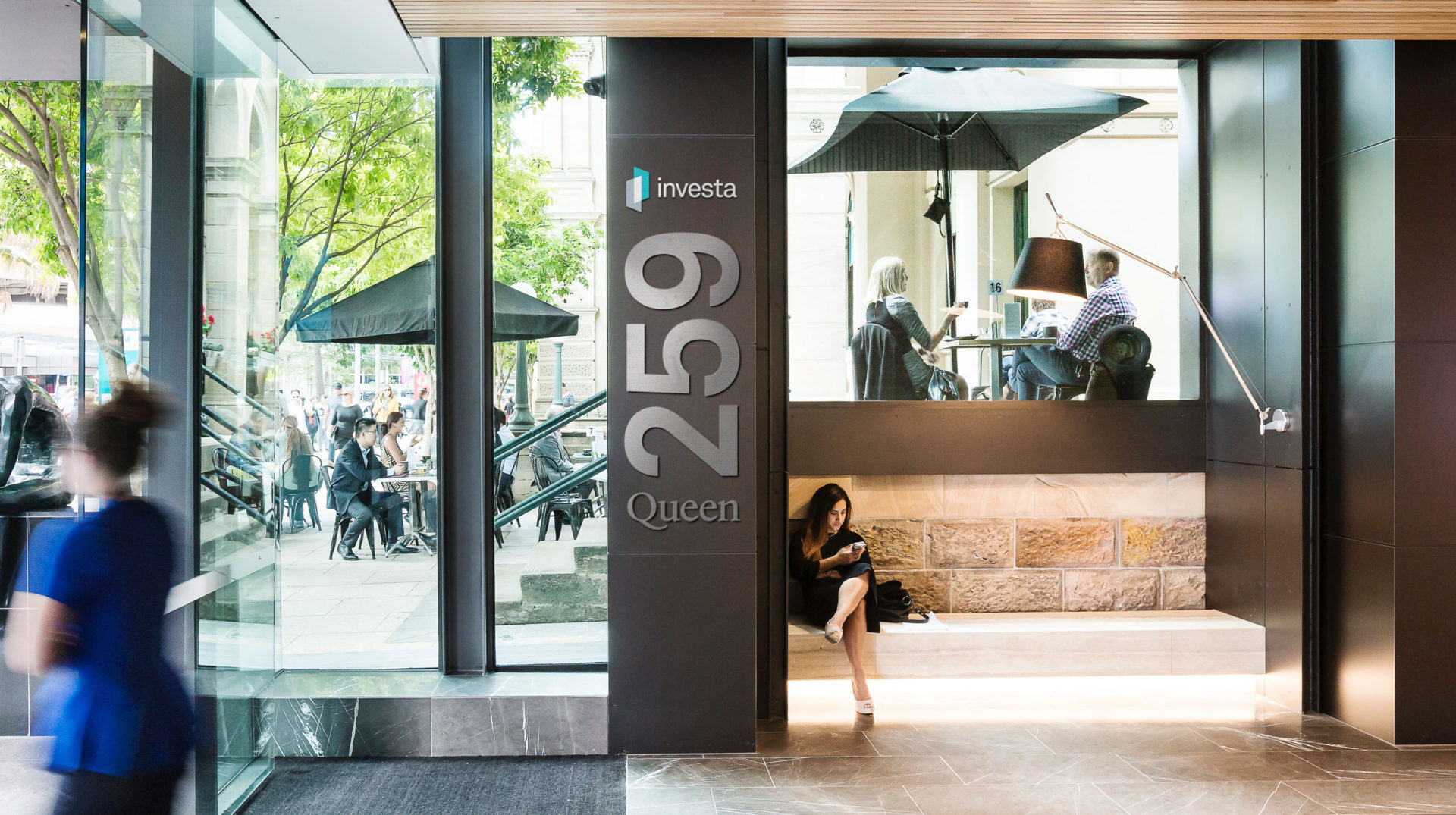 Image of signage and entryway at the 259 Queen Street office