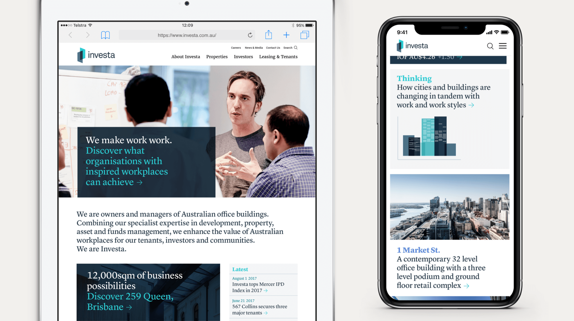 Investa's website displayed on an iPad and iPhone