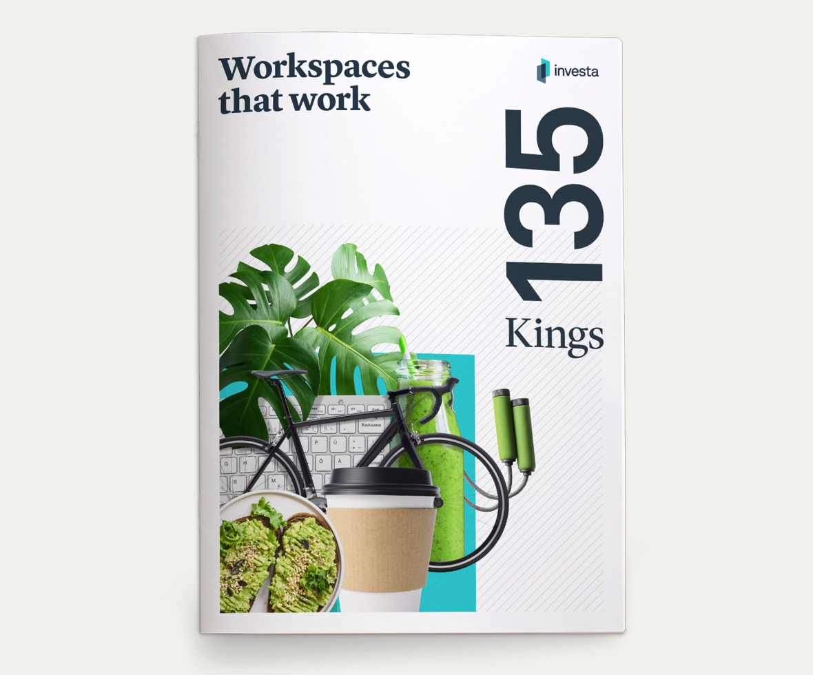 Cover of a leasing brochure for 135 Kings Street