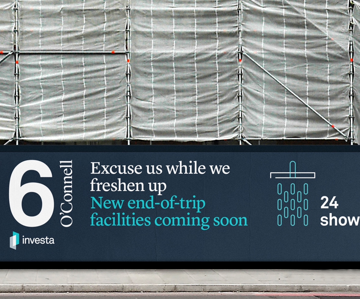 A section of the external hoarding at 6 O'Connell street while under construction