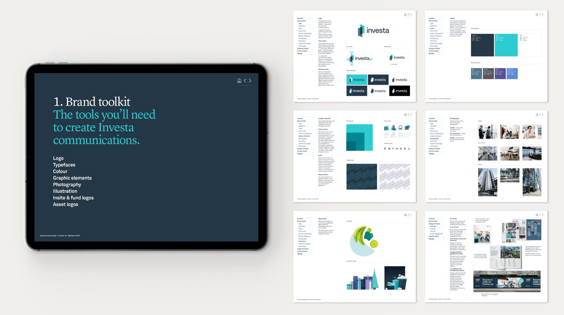 An iPad displaying the brand standards cover with a selection of guideline pages shown to the right