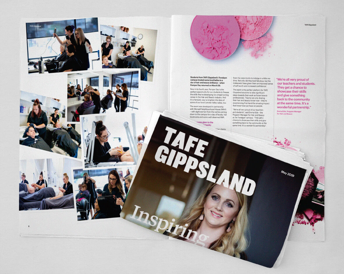 A spread and the folded cover of the TAFE broadsheet