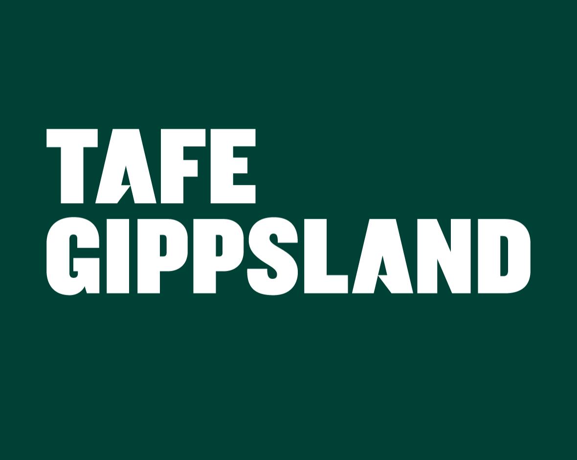 White TAFE Gippsland logo on a dark green background
