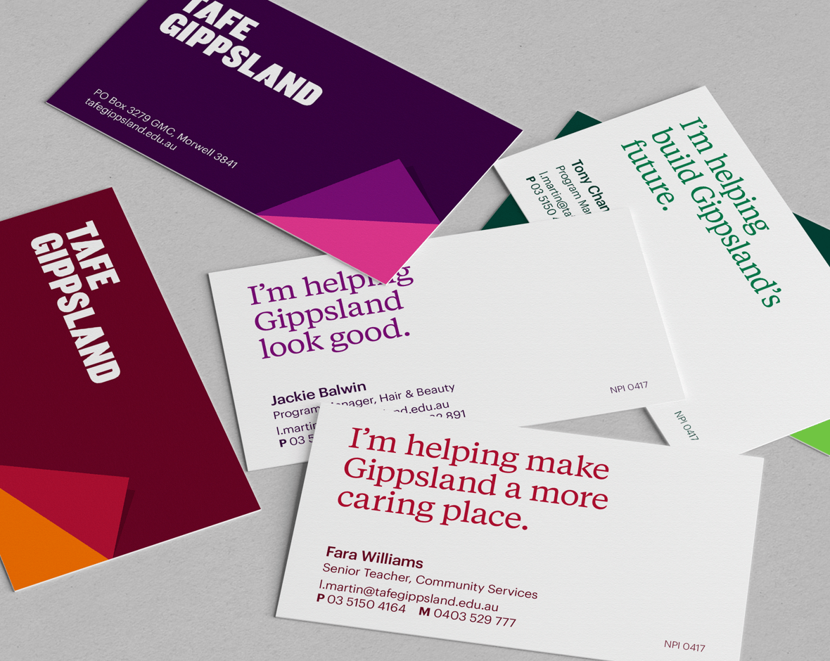 A collection of business cards for TAFFE Gippsland