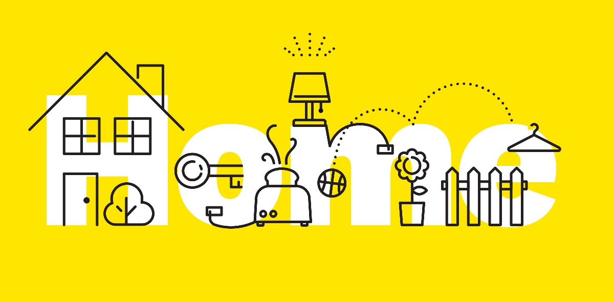 the word Home in white on a yellow background, with black illustrations of household items over the top