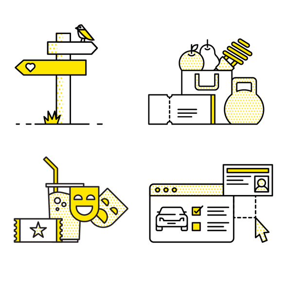 A collection of four illustrations showing a sign post, a shopping bag, movie tickets and a drivers licence