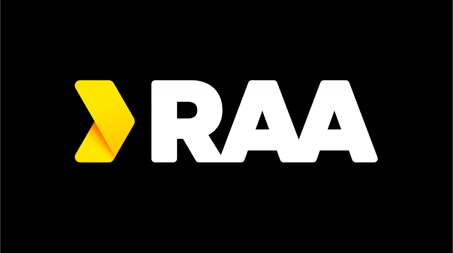 RAA's logo in yellow and white over a black background