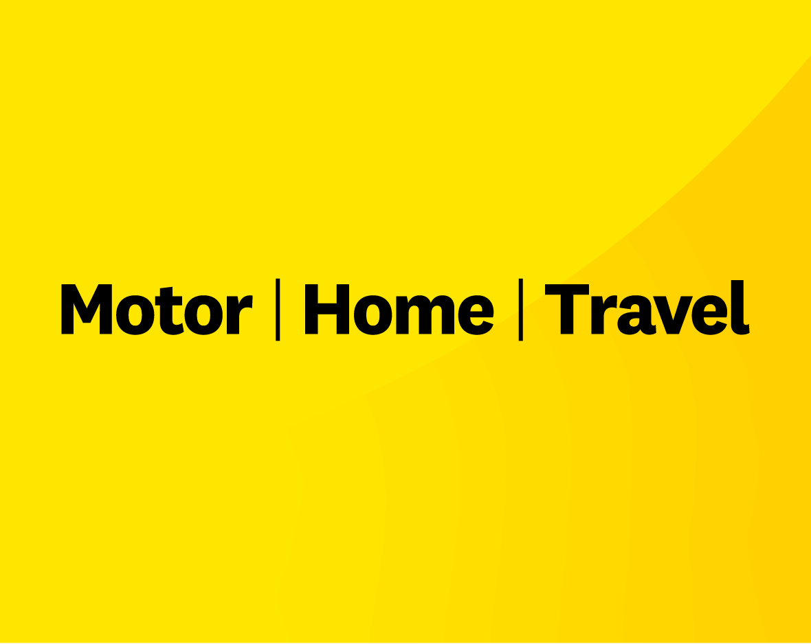 RAA's pillars of Motor, Home and Travel on a yellow background