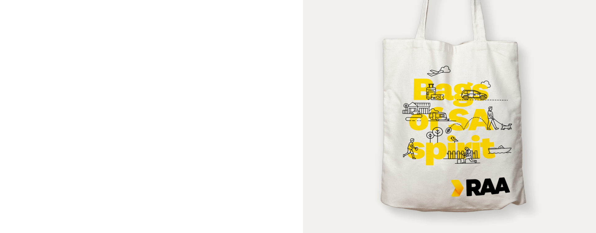 """A canvas bag with illustrations over the yellow text """"Bags of SA spirit"""""""