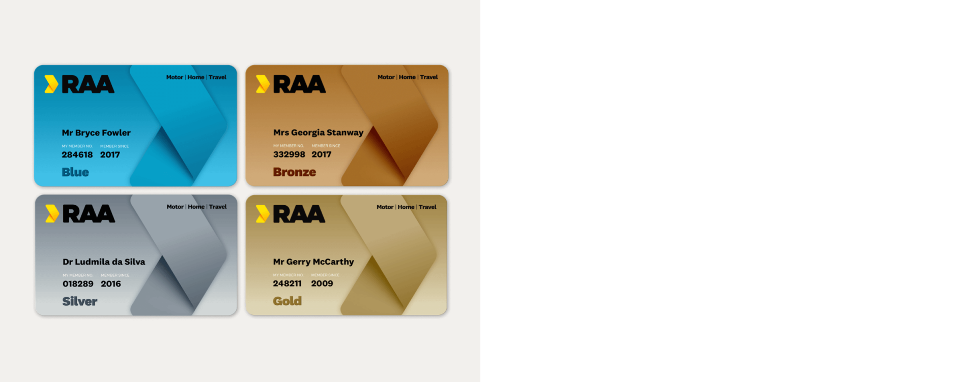Four RAA membership cards in blue, bronze, silver and gold.
