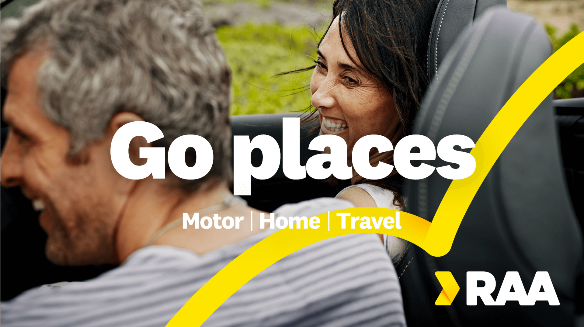 Poster of a couple in a car, with the statement 'Go places' and the RAA pillars over the top