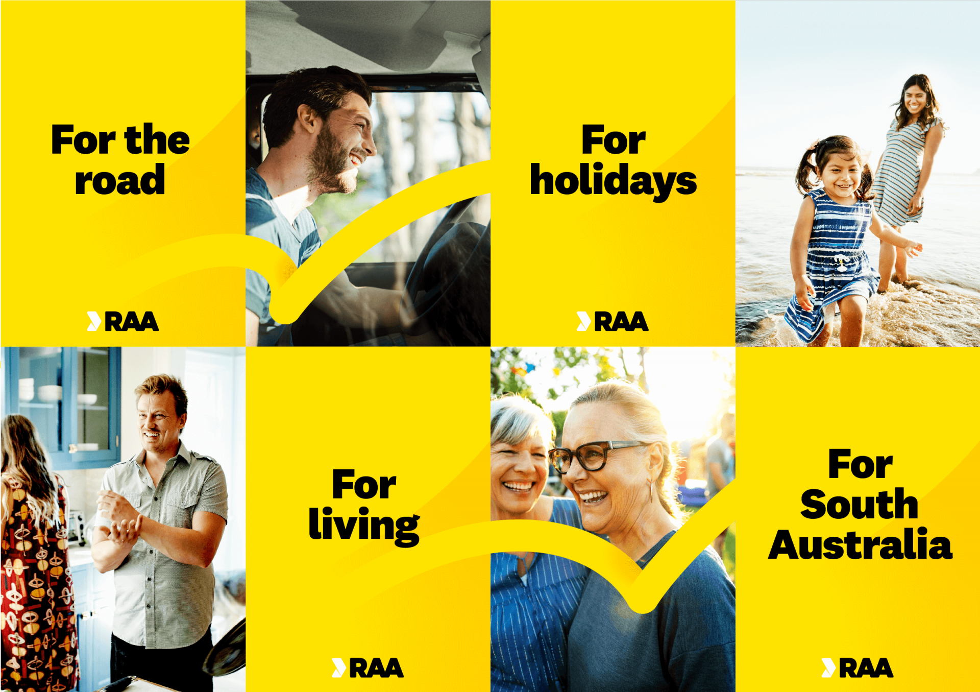 A collection of RAA posters talking to the brand pillars