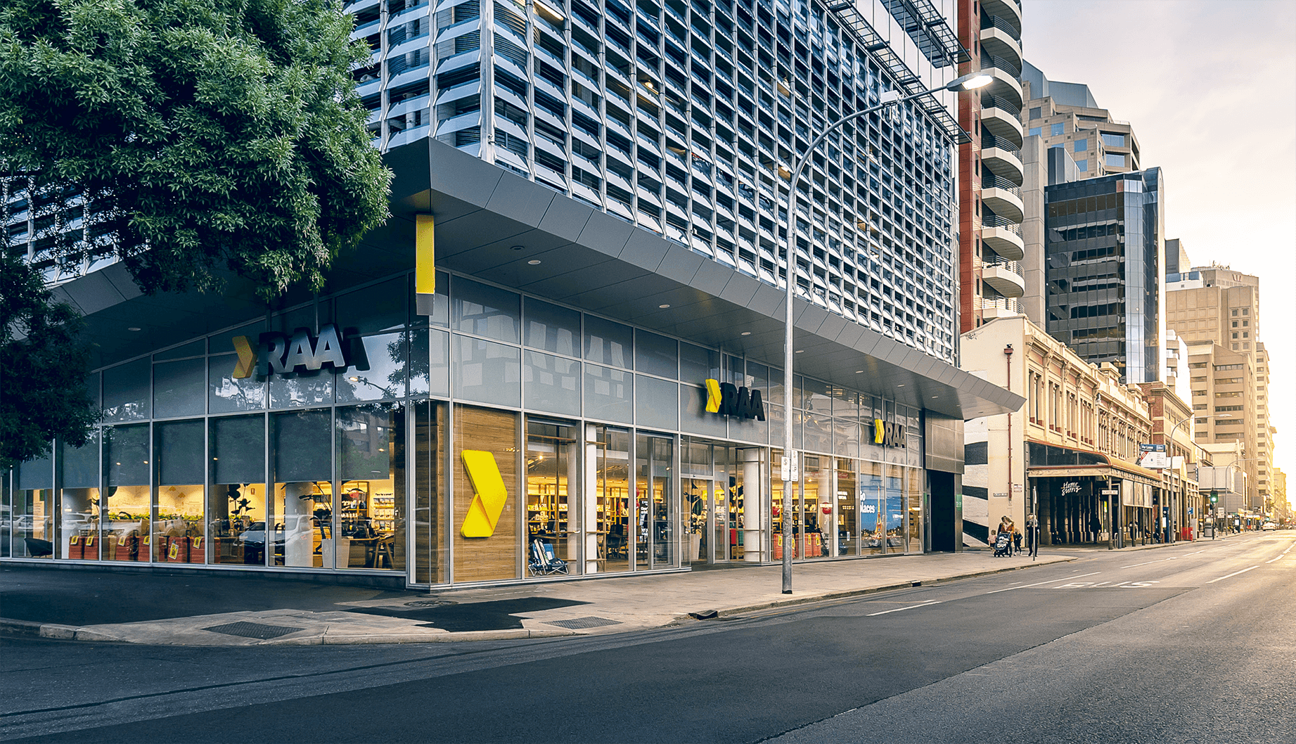 The street frontage of an RAA store in central Adelaide